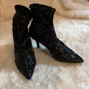 Zara sequined snug ankle boots